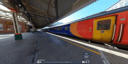 A screen shot from a 360º of a train in Nottingham station