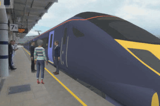Augmented reality showing CGI characters on a real train platform